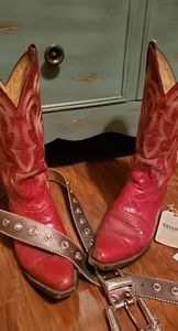 Red, snip toe cowgirl boots